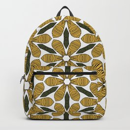 Hand Drawn Yellow Flower & Green Leaves Pattern Backpack