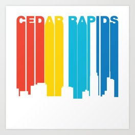 Retro 1970's Style Cedar Rapids Iowa Skyline Art Print