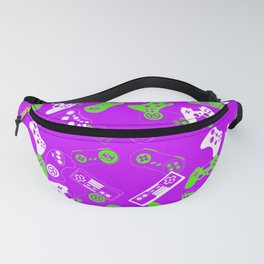 Video Games green on purple Fanny Pack