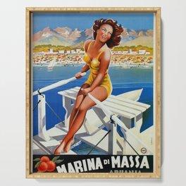 Vintage Marina di Massa Italian travel advertising Serving Tray