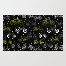 Bicycles cycle pattern black and white by andrea lauren Rug