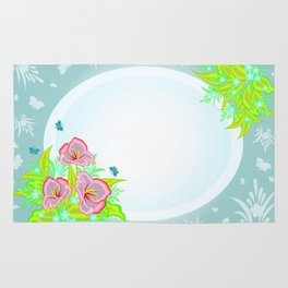 Frame with abstract flowers and background Rug