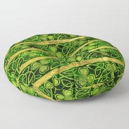 Irish Shamrock -Clover Gold and Green pattern Floor Pillow