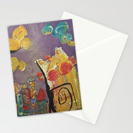 Cat in the city Stationery Cards
