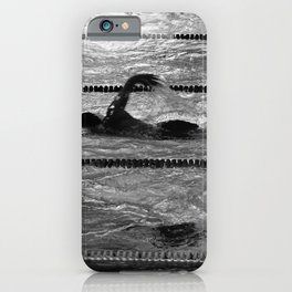 The swimmers in black and white iPhone Case