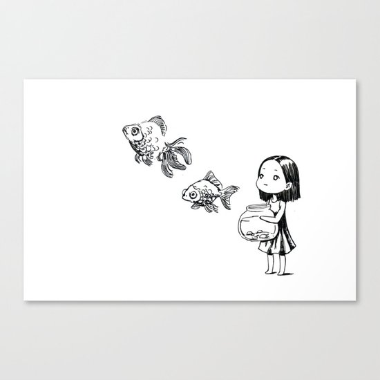 Girl and the Fish Canvas Print