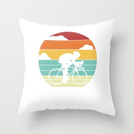 Bike Bicycle Retro Race City Cyclist Cool Vintage Throw Pillow