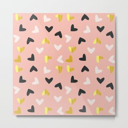 Heart pattern gold and rose Metal Print