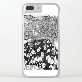 Zentangle Vermont Landscape Black and White Illustration Clear iPhone Case