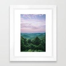 Pink Sunset over the Blue Ridge Mountains Framed Art Print