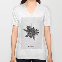 Moscow, Russia Black and White Skyround / Skyline Watercolor Painting Unisex V-Neck