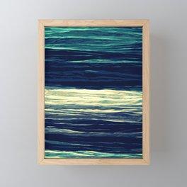 Blue Teal Texture Stripes Framed Mini Art Print