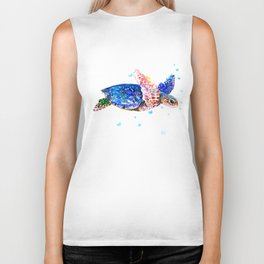 Sea Turtle, blue rainbow Biker Tank