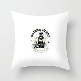 Hand Drawing Shoe Shiner Skeleton Shoes Care Logo Throw Pillow
