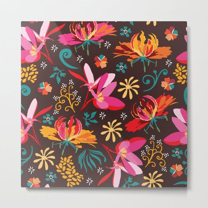 Tropical flower pattern Metal Print