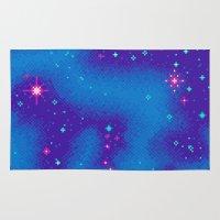8bit Area & Throw Rugs featuring Indigo Nebula (8bit) by Sarajea