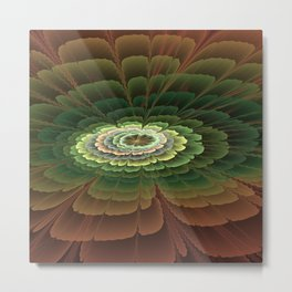 Abstract Flower Brown And Green, Fractal Art Metal Print