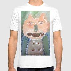 orange cat MEDIUM Mens Fitted Tee White