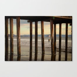 Looking Deeper Morro Bay through Cayucos Pier Canvas Print
