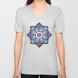 Bluish floral pattern Unisex V-Neck
