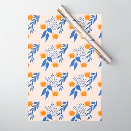 Floral Pattern Indigo Orange Blue Wrapping Paper
