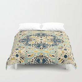 Protea Pattern in Deep Teal, Cream, Sage Green & Yellow Ochre  Duvet Cover