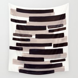 Grey Primitive Stripes Mid Century Modern Minimalist Watercolor Gouache Painting Colorful Stripes Wa Wall Tapestry