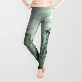 Seattle Skyline Watercolor Space Needle Emerald City 12th Man Art Leggings