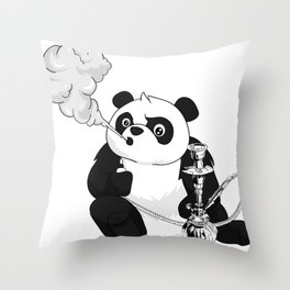 Panda smokes Shisha water pipe funny Throw Pillow