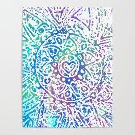 Heart Flower Blue Poster