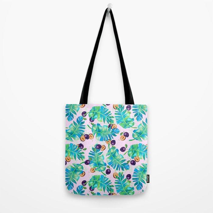 Pattern Plum & leaf Tote Bag