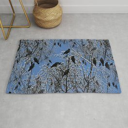 Birds on frosty branches Rug