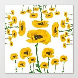 YELLOW POPPIES FLOWER ON WHITE Canvas Print