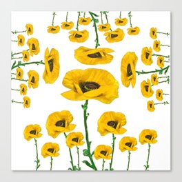 YELLOW POPPIES FLOWER ON WHITE Canvas Print
