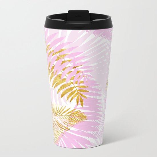 Aloha- Pink Tropical Palm Leaves and Gold Metal Foil Leaf Garden Metal Travel Mug