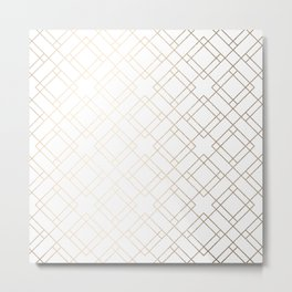 Simply Mod Diamond White Gold Sands on White Metal Print