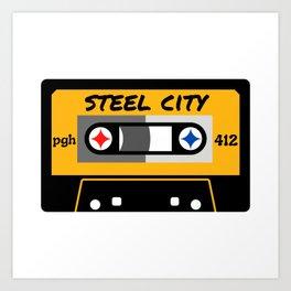 Pittsburgh Steel City 412 Vintage Music Cassette Tape Art Print