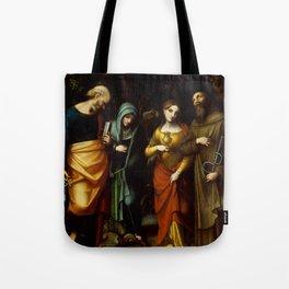 "Antonio Allegri da Correggio ""Saints Peter, Martha, Mary Magdalen, and Leonard"" Tote Bag"
