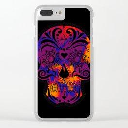 Amazing Sugar Skull,blue Clear iPhone Case