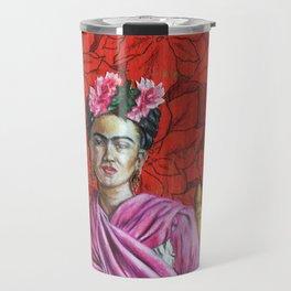 Frida Kahlo with Poinsettias Travel Mug