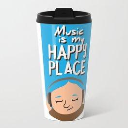 Music is my happy place - Blue Travel Mug