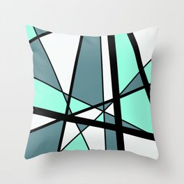 Mikado Pattern turquoise white design Throw Pillow