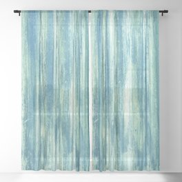 Turquoise vintage abstract metal pattern Sheer Curtain