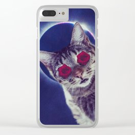 spaced out cat Clear iPhone Case