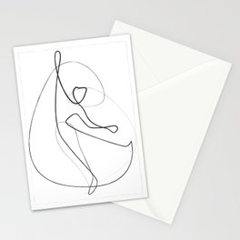 abstract outline illustration - black and white figure / silhouette dancing  female  body drawing Stationery Cards