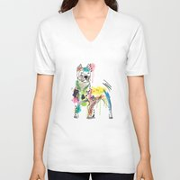 dog V-neck T-shirts featuring dog  by mark ashkenazi