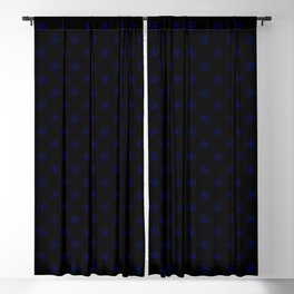 Navy Blue on Black Snowflakes Blackout Curtain