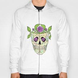 Vintage pirate skull with flowers wreath  Hoody