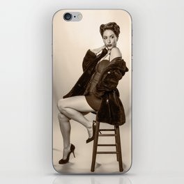 """Show a Little Shoulder"" - The Playful Pinup - Vintage Pin-up Girl in Coat by Maxwell H. Johnson iPhone Skin"