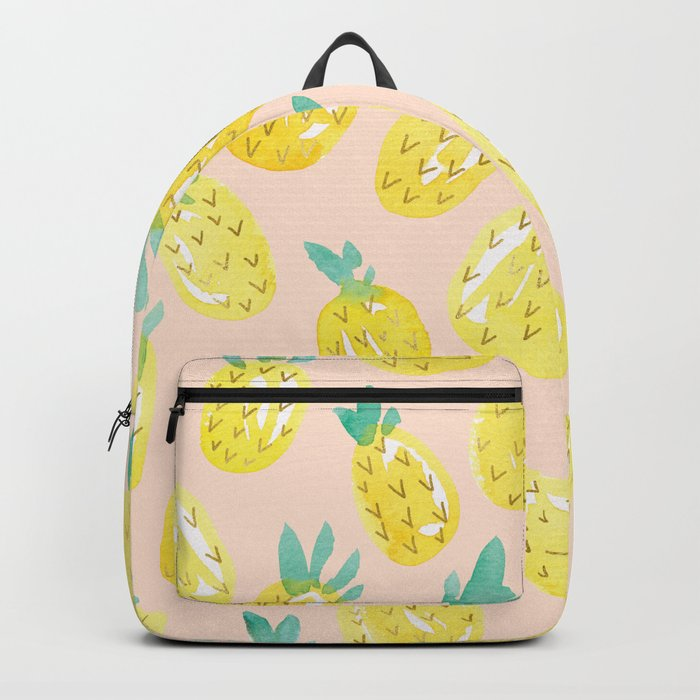 Watercolour Pineapples on Peach Backpack